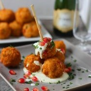 Pomegranate Arancini with Goat Cheese Fonduta