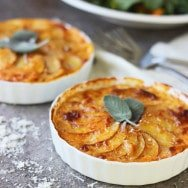 Individual Pumpkin and Potato Gratins with Gruyère and Sage