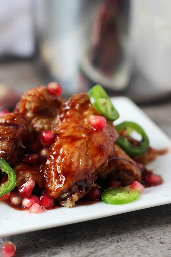 Sticky Baked Wings with Spicy Pomegranate Glaze