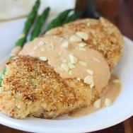 Almond and Sea Salt Crusted Chicken with Cinnamon Pumpkin Cream Sauce