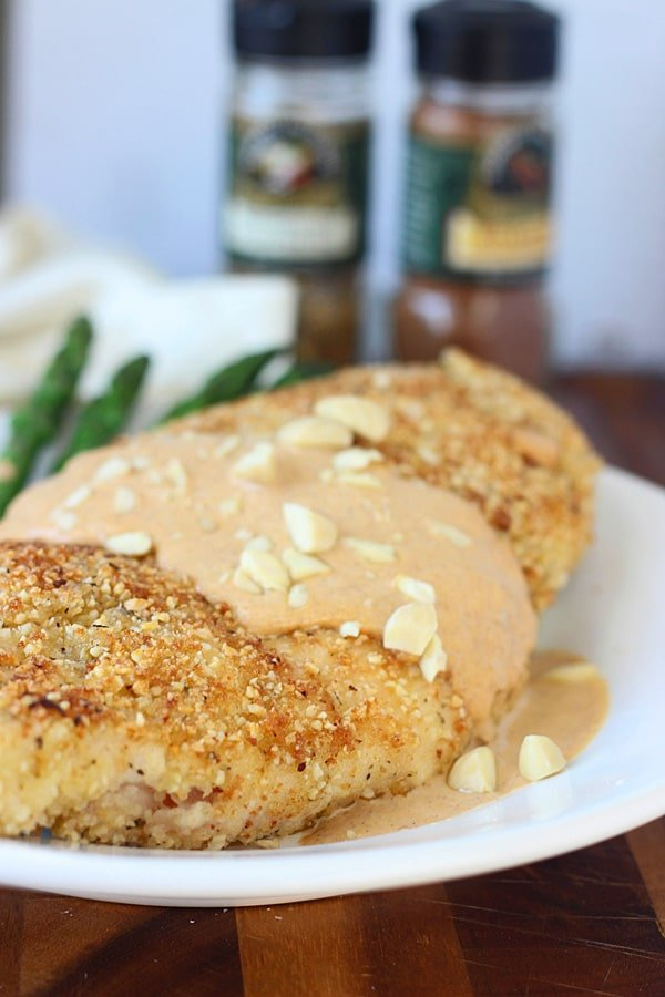 Almond and Sea Salt Crusted Chicken with Pumpkin Cream Sauce 5