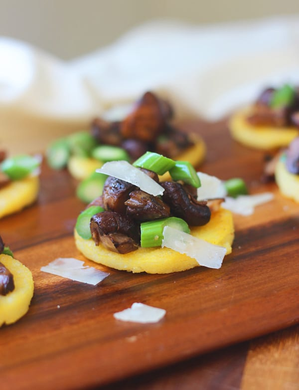 Polenta Bites with Sherried Mushrooms, Asparagus and Parmesan 3