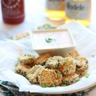 """Fried"" Pickles with Homemade Sriracha Ranch"