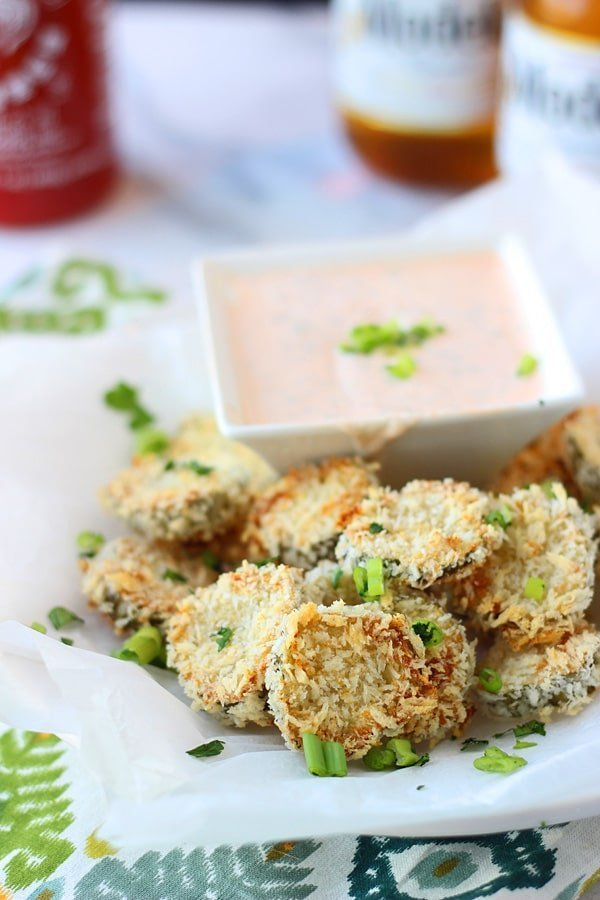 Baked Fried Pickles with Homemade Sirracha Ranch