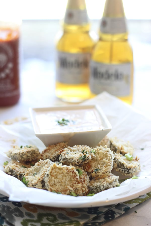 Baked Fried Pickles with Sirracha Ranch 4