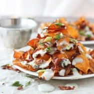 Baked Sweet Potato Chips with Blue Cheese Sauce, Bacon and Green Onion