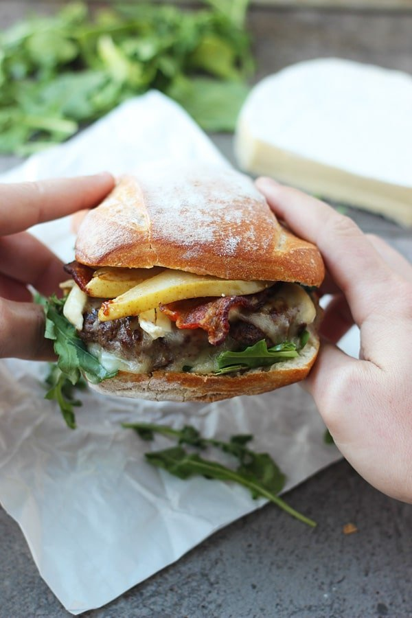 Bison Burgers with Brie, Bacon and Carmelized Pears 2