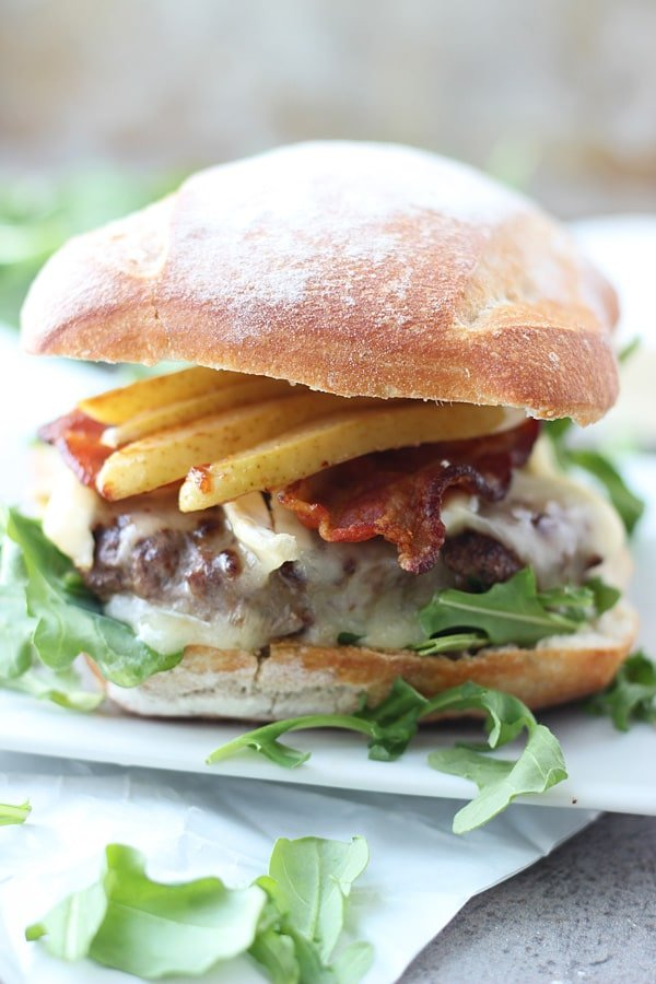 Bison Burgers with Brie, Bacon and Carmelized Pears 4