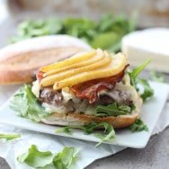 Bison Burgers with Brie, Bacon and Caramelized Pears