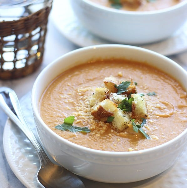 Creamy Roasted Garlic Cauliflower and Red Pepper Soup - Cooking for ...