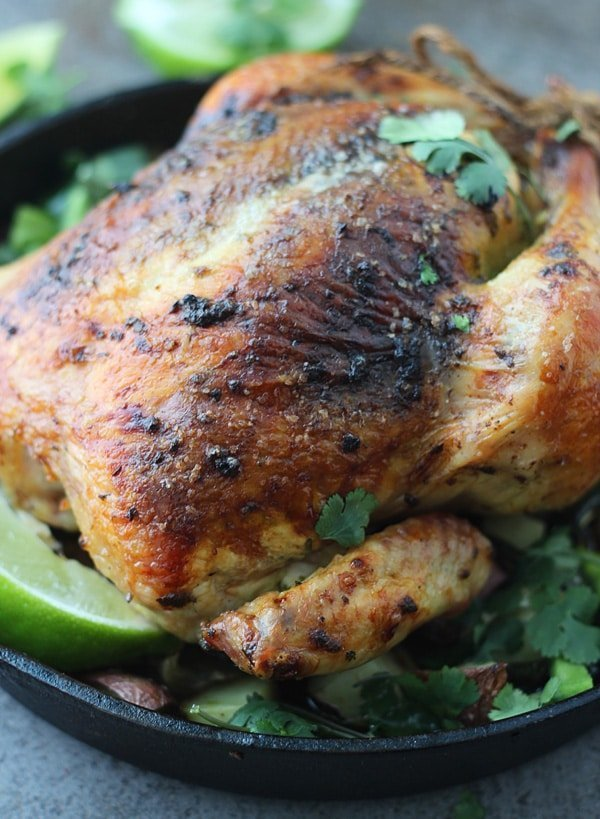 Poblano, Cilantro and Lime Roasted Chicken-Succulent, juice and SO flavorful. Seriously, the BEST roast chicken!