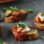 Easiest Ever Baked Goat Cheese in Tomato Sauce