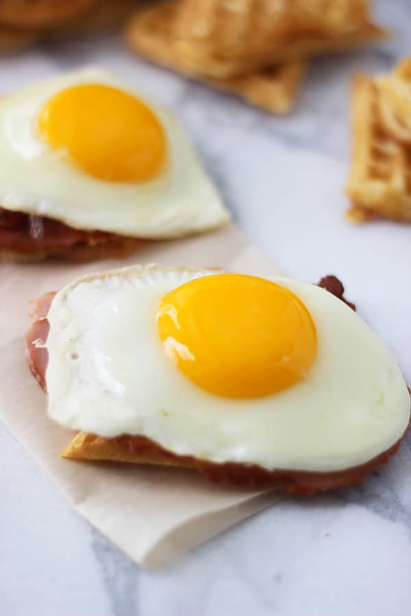 Heart Shaped Waffle Croque Madame Sliders 4