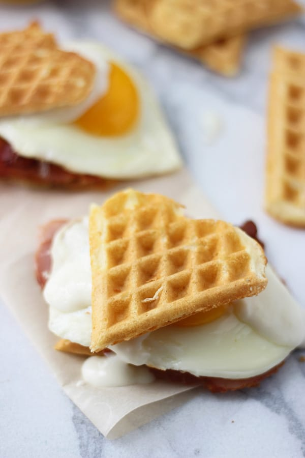 Heart Shaped Waffle Croque Madame Sliders 5
