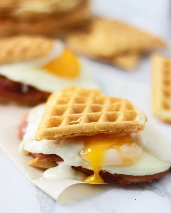 Heart Shaped Waffle Croque Madame Sliders 6