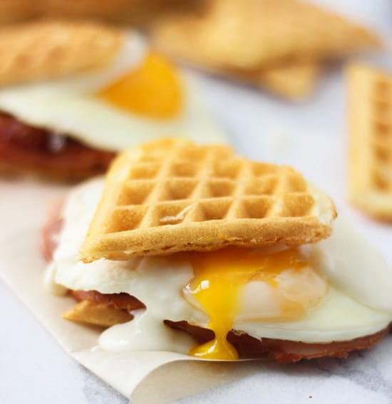 Heart Shaped Waffle Croque Madame Sliders 7