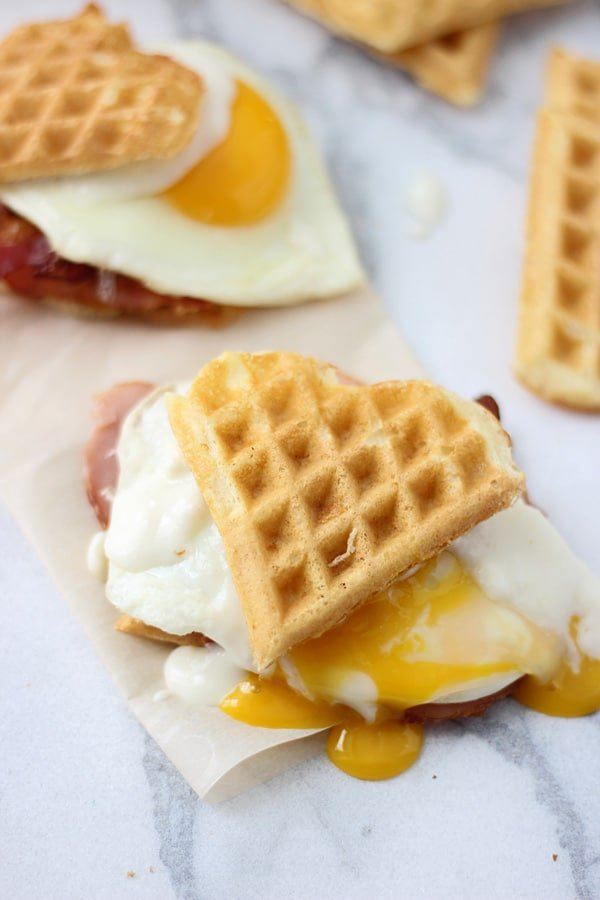 Heart Shaped Waffle Croque Madame Sliders 8