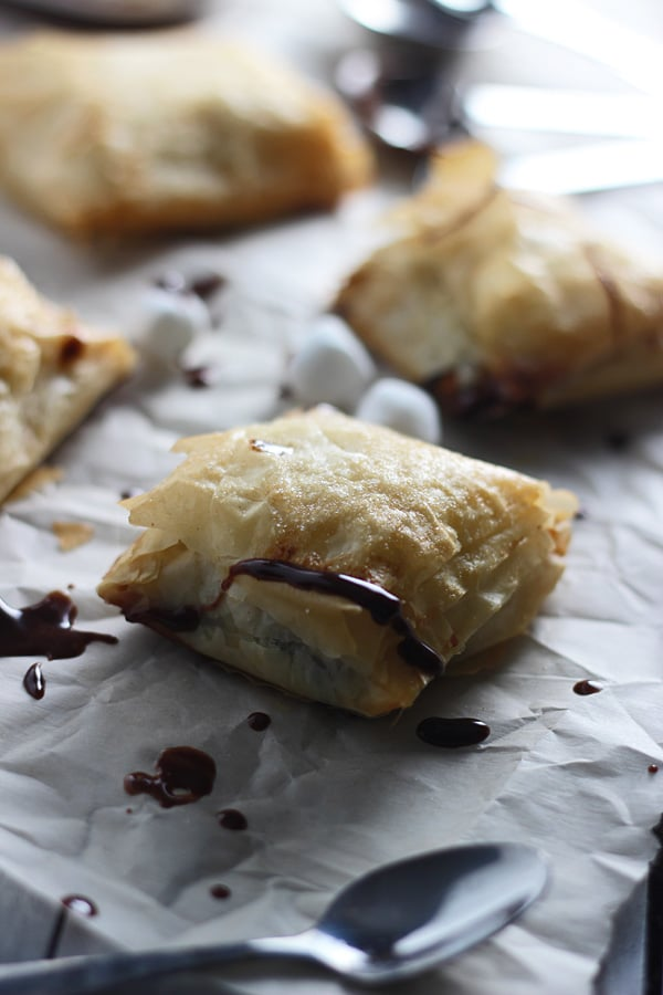 Peanut Butter Nutella Phyllo Pockets