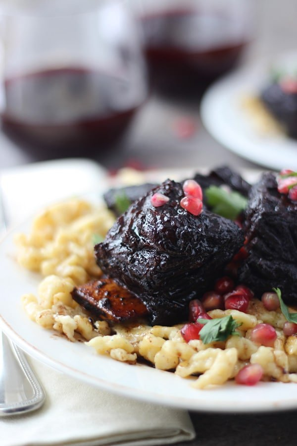 Pomegranate Braised Beef Short Ribs with Brown Butter Spaetzel