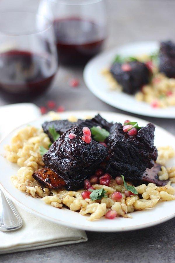 Pomegranate Braised Beef Short Ribs with Brown Butter Spätzle ...