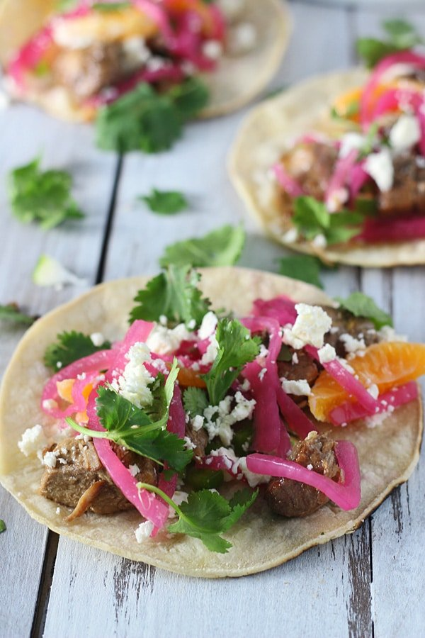 Slow-Cooker Pomegranate Pork Tacos with Cutie Jalapeno Salsa and Quick Pickled Red Onions 6