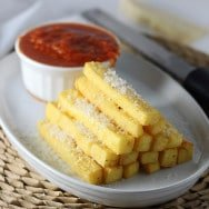 Crispy Baked Polenta Fries with Spicy Tomato Dipping Sauce