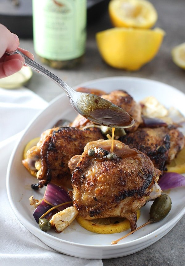 Best Ever Pan Roasted Chicken with Lemon, Caper Berries and Roasted Garlic 4