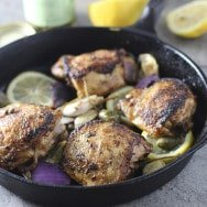 Pan Roasted Chicken with Lemon Caper Berries and Roasted Garlic