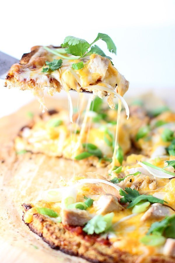 Chicken Enchilada Cauliflower Crust Pizza