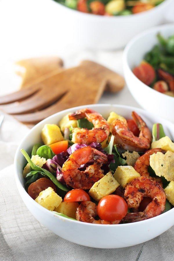 Chili Grilled Shimp, Polenta Crouton and Frico Salad with Honey Lemon Vinaigrette 5