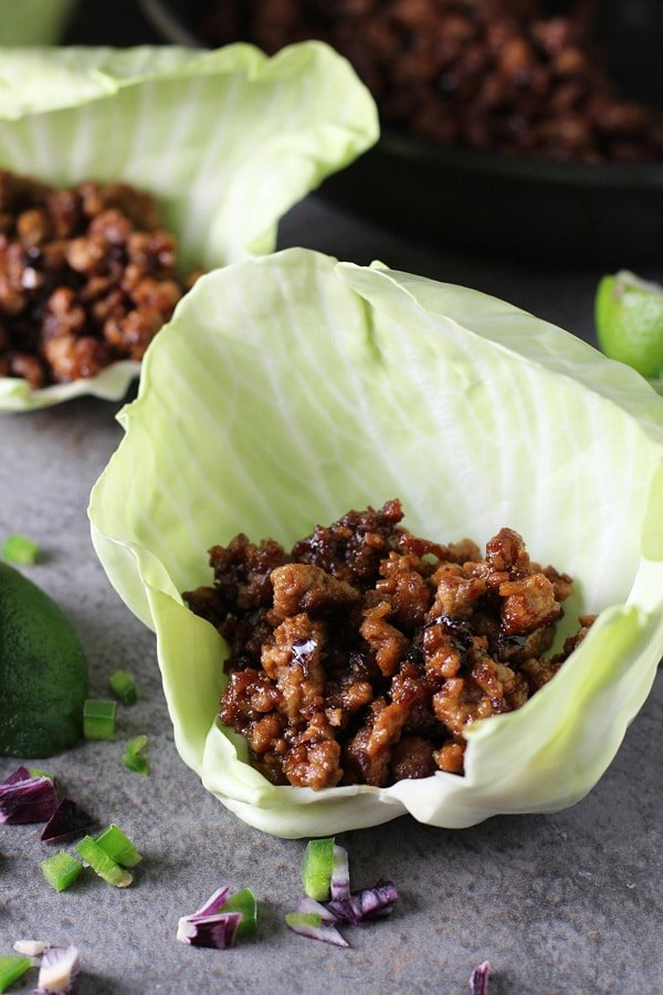 Hoisin Lime Pork Lettuce Wraps with a Cucumber Mango Salsa via cookingforkeeps.com
