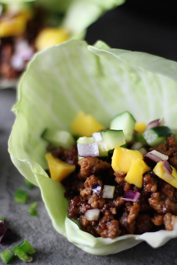 Hoisin Lime Pork Lettuce Wraps with a Cucumber Mango Salsa via cookingforkeeps.com