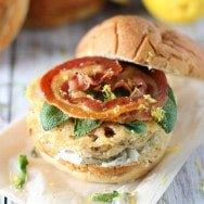 Saltimbocca Turkey Burgers with Sage Lemon Aioli