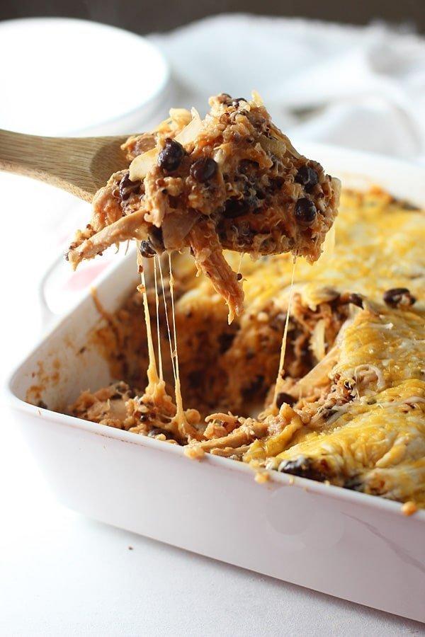 Cheesy Chicken Enchilada Quinoa Casserole