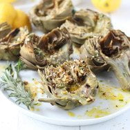 Grilled Artichokes with Rosemary Lemon Vinaigrette and Garlic Bread Crumbs