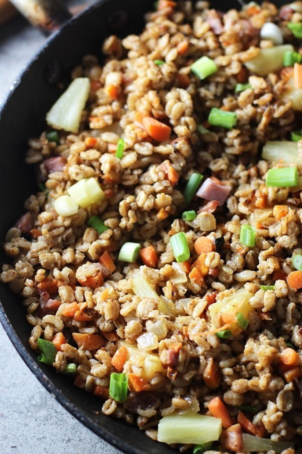 Pineapple & Ham Farro Fried Rice via cookingforkeeps.com