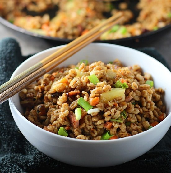 Pineapple & Ham Farro Fried Rice via cookingforkeeps.com