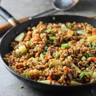 "Pineapple and Ham Farro ""Fried Rice"""