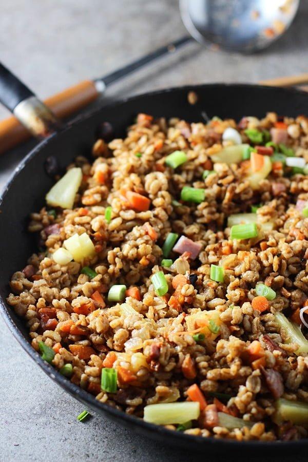 Pineapple and Ham Farro Fried Rice via cookingforkeeps.com
