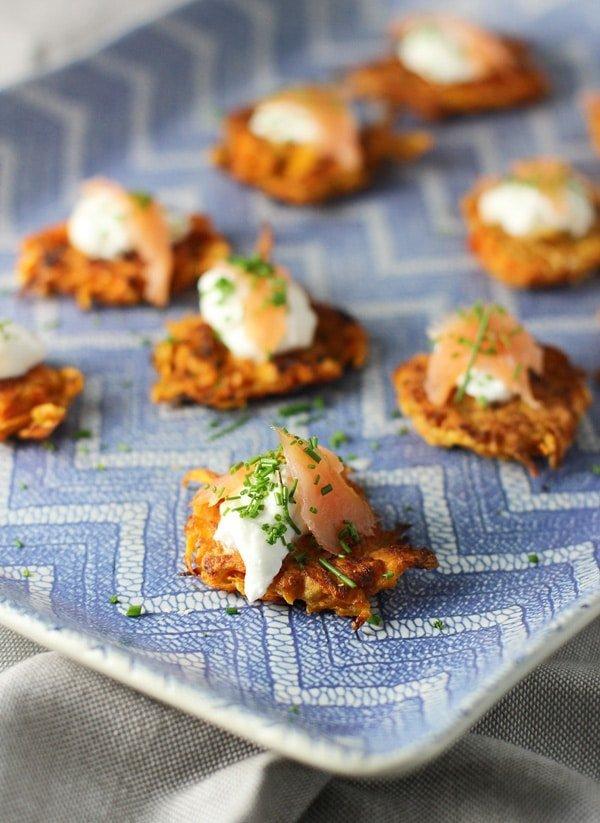 Sweet Potato Latkes with Greek Yogurt and Smoked Salmon 2