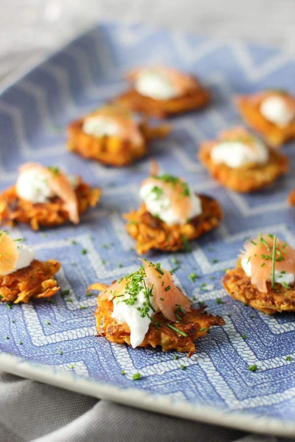 Sweet Potato Latkes with Greek Yogurt and Smoked Salmon - Cooking for ...