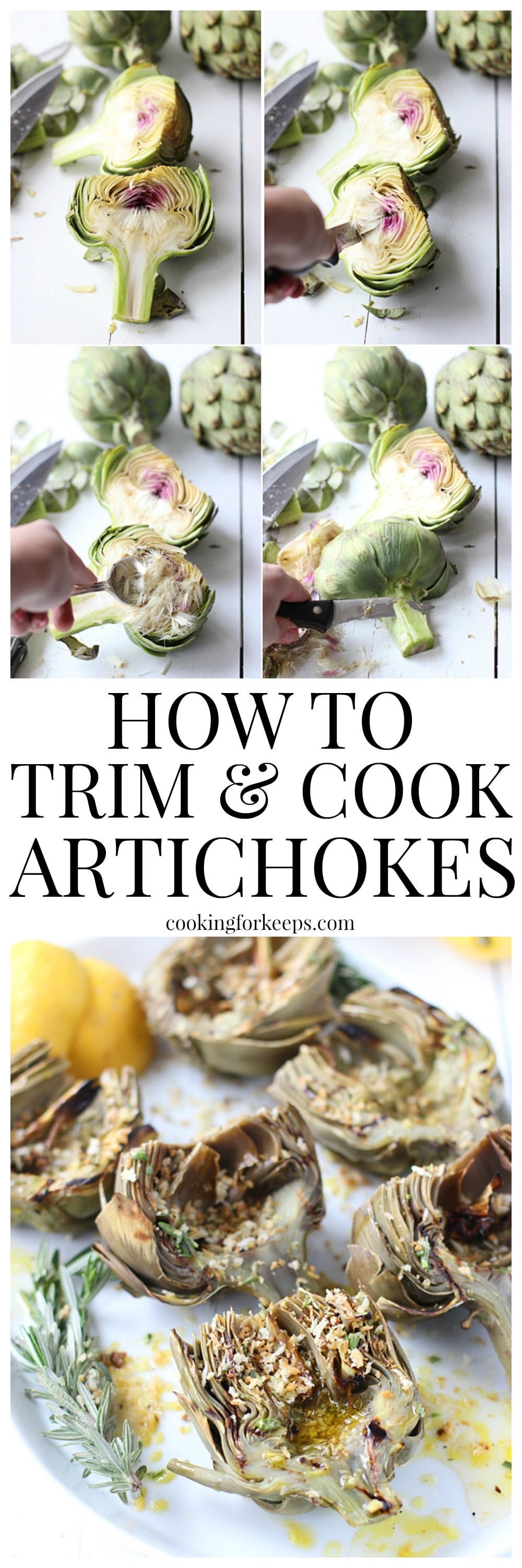 Easy Grilled Artichokes with Rosemary Lemon Vinaigrette and Garlic Bread Crumbs