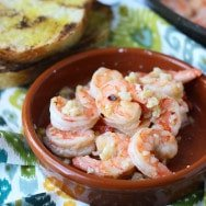 10 Minute Spicy Garlicky Shrimp with Charred Ciabatta