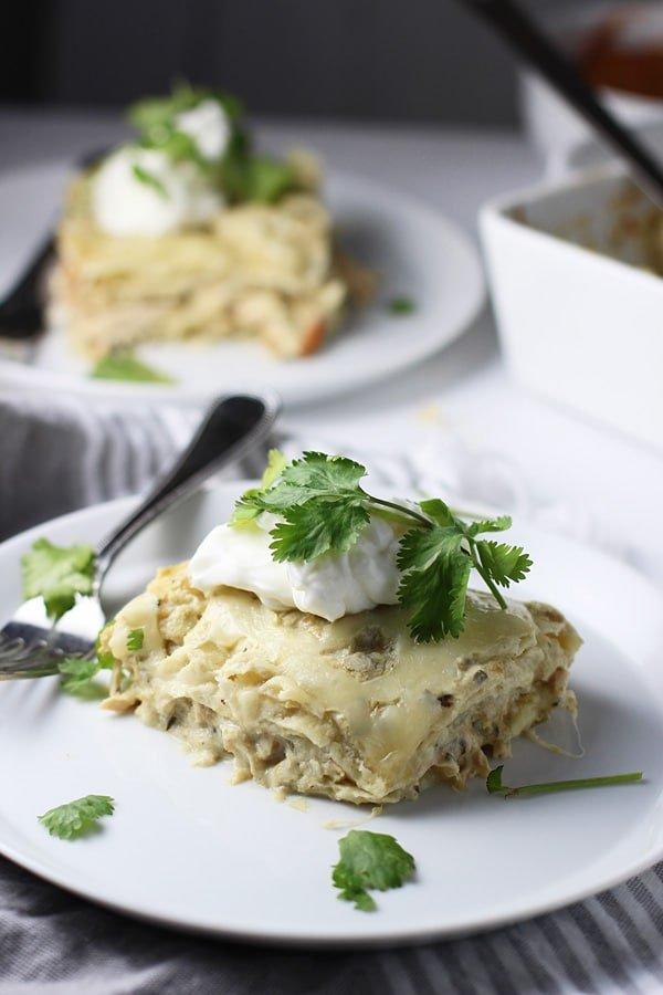 Five Ingedient Verde Chicken Enchilada Stacks via cookingforkeeps.com