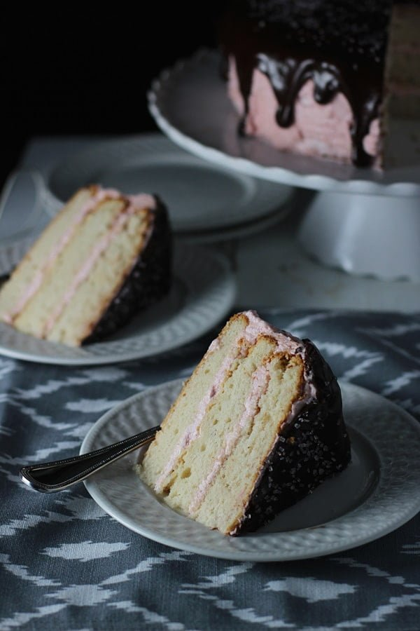 Cake with Strawberry Swiss Meringue Buttercream and Chocolate Glaze ...