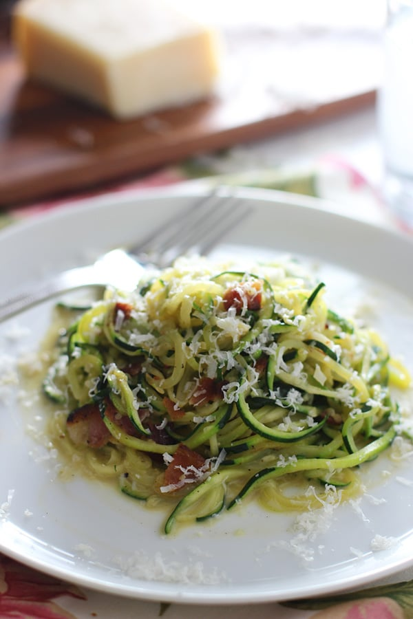 "Cajun Zucchini ""Pasta"" Carbonara - Cooking for Keeps"