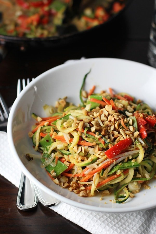 Asian Zucchini Noodles with Peanut Sauce 3
