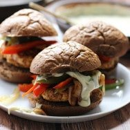 Fajita Chicken Sliders with 3 Ingredient Poblano Queso