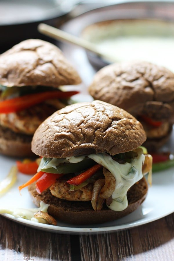 Fajita Chicken Sliders with 3 Ingredient Poblano Queso via cookingforkeeps.com