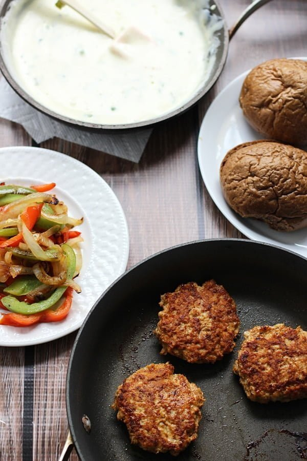 Fajita Chicken Sliders with 3 Ingredient Poblano Queso via cookingforkeeps.com
